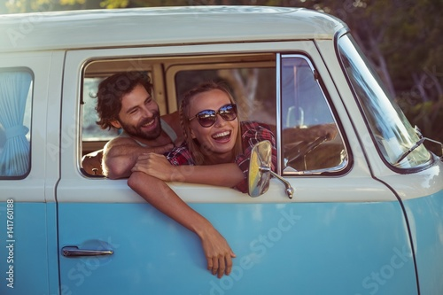 Fotografie, Tablou Couple sitting in a campervan