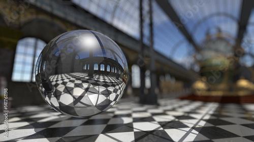 Surreal sphere in steampunk victorian interior. 3D rendering