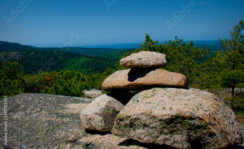 Stone Cairn on Mountain in Acadia National Park Canvas Print