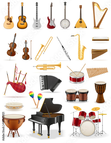 Fotografiet  musical instruments set icons stock vector illustration