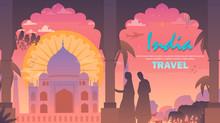 Travel To India. Taj Mahal At Sunset. Vektor Flat Design.