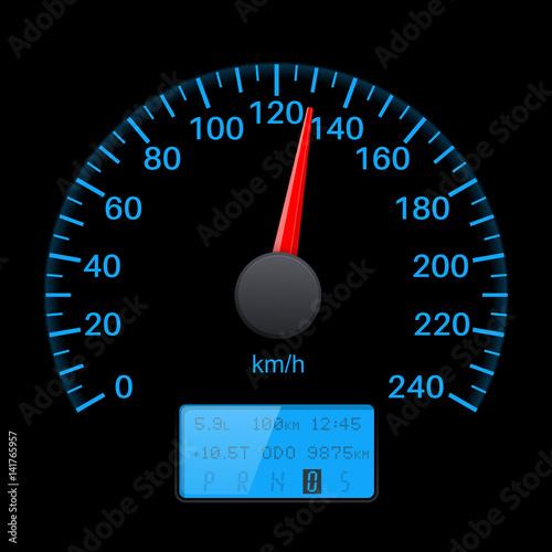 Fotografía  Black speedometer scale with blue back light. Speed gauge