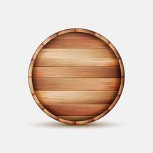 Barrel Wooden Sign Vector. Wooden Barrel Signboard For Cafe, Restaurant, Bistro, Brasserie, Beer, Wine Or Whiskey.
