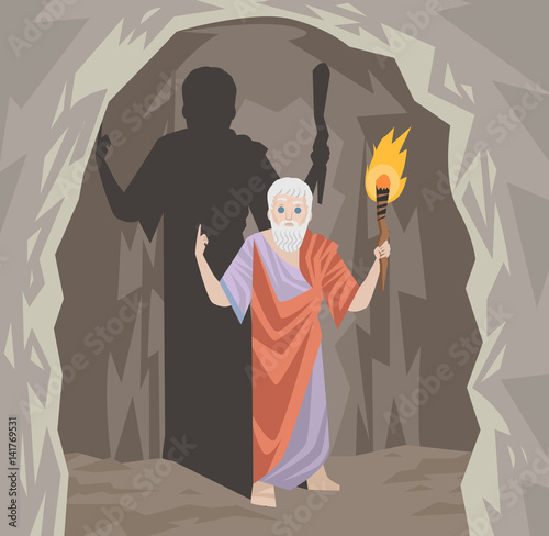 great philosopher greek thinker and shadows cave cavern allegory Wallpaper Mural