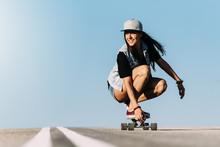 Beautiful Skater Woman Riding ...