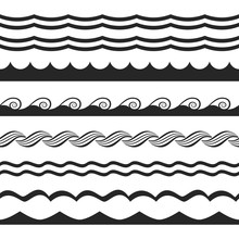 Set Of Seamless Lines Of Waves