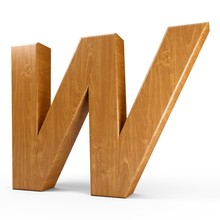 3d Rendering Wood Material Italic Letter W Isolated White Background
