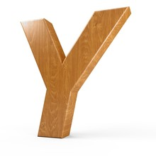 3d Rendering Wood Material Italic Letter Y Isolated White Background