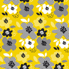 Tropical Summer Concept Floral Seamless Pattern. Surface Design With Geometry Abstract Flowers For Fabric, Background, Print, Wrapping Paper.