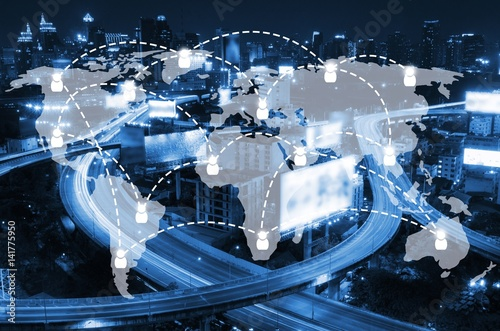 World map social media network connection business and technology world map social media network connection business and technology concept with on blurred night city background gumiabroncs Image collections