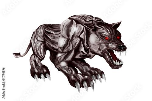 Photo  Devil's beast. Illustration isolated on white background
