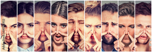 Fototapety, obrazy: Group of people pinching nose with fingers something stinks bad smell