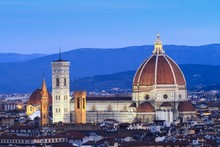 Europe, Italy, Tuscany, Florence. Florence Cathedral With The Basilica Of Santa Maria Novella In Evening Dress
