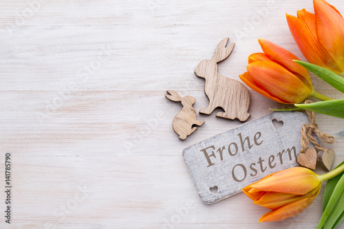 Narcissus Easter and spring decoration, flowers and eggs.