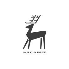 Animal Based Logo. Wild Deer Sign. Hand Drawn Design For Nature Park Emblem. Horned Reindeer Black White Symbol. Decorative Monochrome Vector Illustration Of Elk. Wildlife Advertisement Banner Element