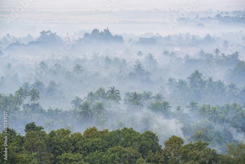 Foto op Plexiglas Ochtendgloren Mrauk-U, Rakhine state, Myanmar. Mrauk-U valley in a foggy sunrise seen from the Shwetaung pagoda.