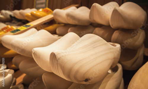 Photo  Uncolored clogs made of poplar wood