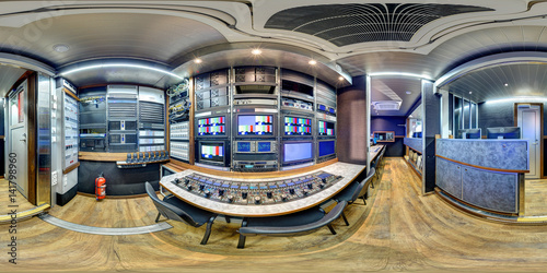 Photo 360 panorama inside broadcast mobile television station in 3D view equirectangul