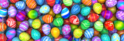 Photo  Pile of birght and colorful Easter Eggs - 3d render