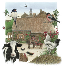 Fototapeta Wiejski Illustration / Animaux de la ferme