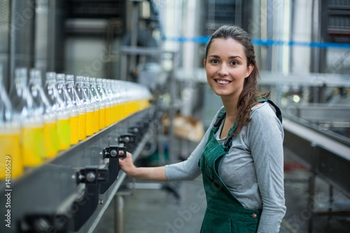 Fotografie, Obraz Female factory worker standing near production line