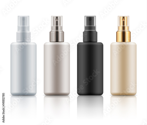 set with realistic blank templates of plastic spray bottles mockup of cosmetic packages empty