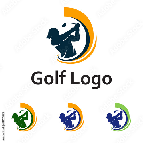 Golf Logo Golfer Swing and Hit the Ball - Buy this stock ...