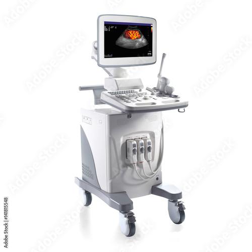 Fotografia  Portable Ultrasound Machine Isolated on White Background