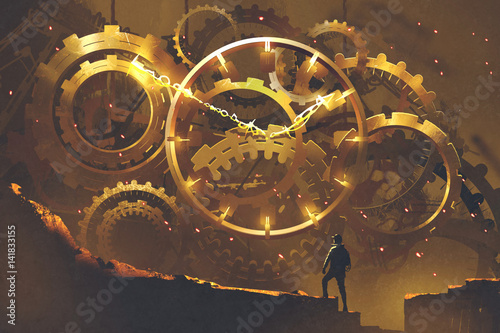 Photo man standing in front of the big golden clockwork,illustration painting
