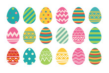 Set Of Easter Eggs Flat Design...