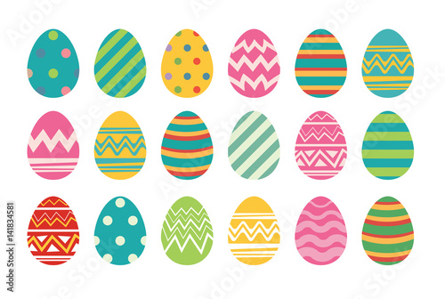 Photo  Set of easter eggs flat design on white background.