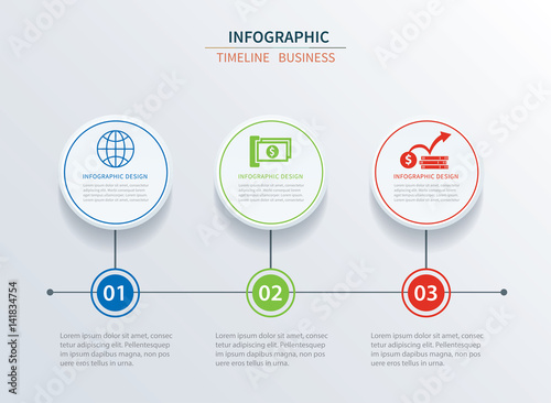 business infographics template 3 data with circle can be used for workflow layout diagram