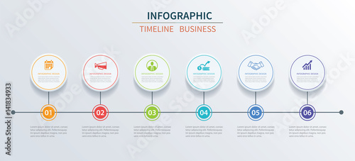 Photo  Business infographics template 6 data with circle