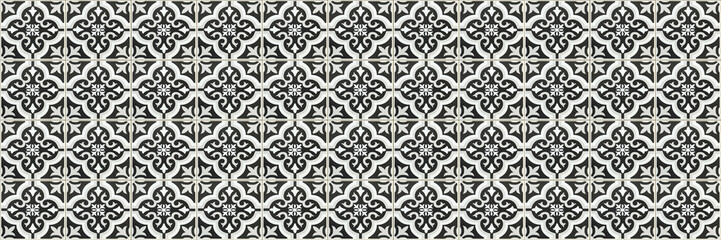 horizontal black and white ceramic tile texture for background and design