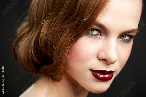 Foto op Plexiglas Beauty Beautiful woman with long straight red hair