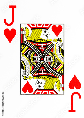 Photo  large index playing card jack of hearts