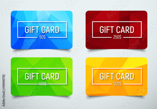 Fotografía  set of gift cards with a polygonal abstract background