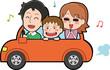 ドライブをする3人家族のイラスト