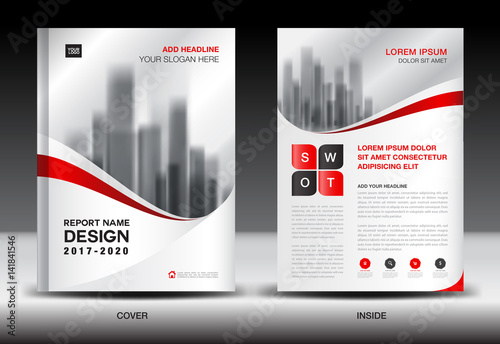 Annual Report Brochure Flyer Template Red Cover Design Business