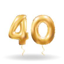 Number Forty Metallic Balloon
