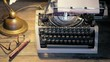 Dolly shot: typewriter lit by a table lamp