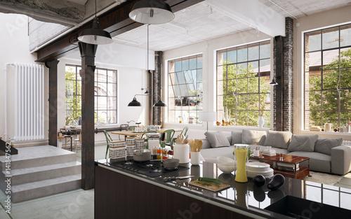 Kitchen In Luxury Industrial Factory Loft Kuche In Luxus Industrie