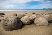 Moeraki Boulders On The Koekohe Beach, Eastern Coast Of New Zealand