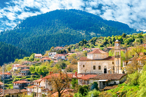Photo view of mountain village, Baltessiniko in Arcadia, Peloponnese, Greece