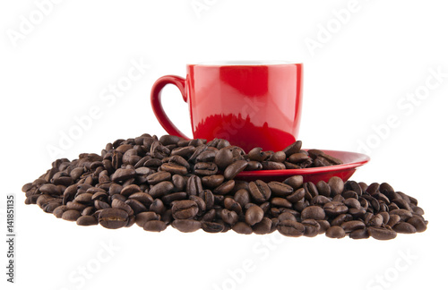 grains of coffee and red cup