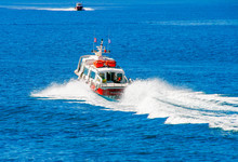 Red Motor Boats Transfer People To Spetses Island, Greece
