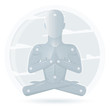 Meditation man isolated on white background. Cartoon meditation character, vector yoga flat design. Meditation pose illustration.