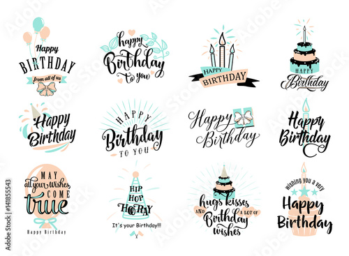 Photo  Vector illustration of Happy Birthday badge set