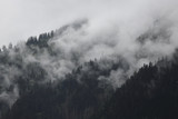 foggy clouds rising from dark alpine mountain forest - 141859772