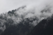 Foggy Clouds Rising From Dark ...